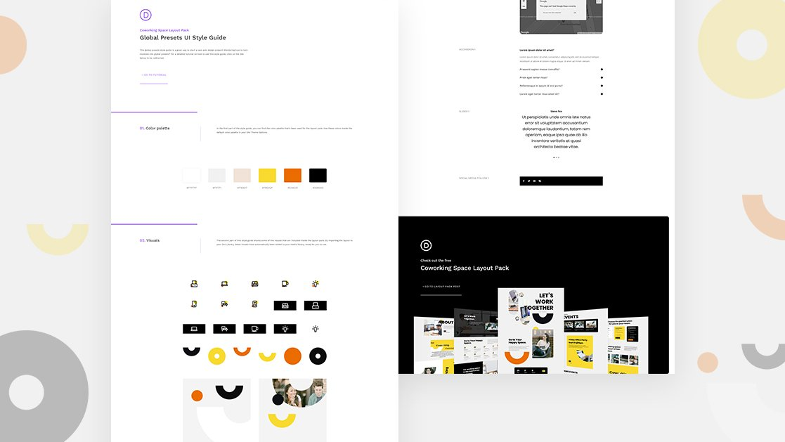 Get a FREE Global Presets Style Guide for Divi's Coworking Space Layout Pack