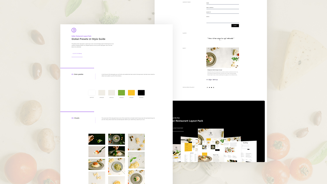Download a FREE Global Presets Style Guide for Divi's Italian Restaurant Layout Pack