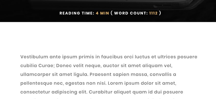 post estimated reading time and word count