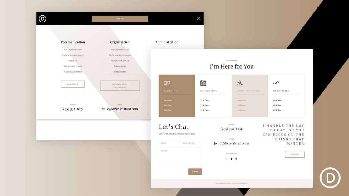 Get a FREE Header and Footer for Divi's Virtual Assistant Layout Pack
