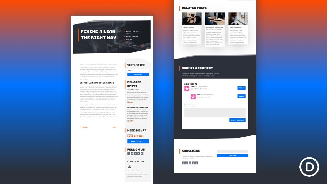 Get a FREE Blog Post Template for Divi's Handyman Layout Pack