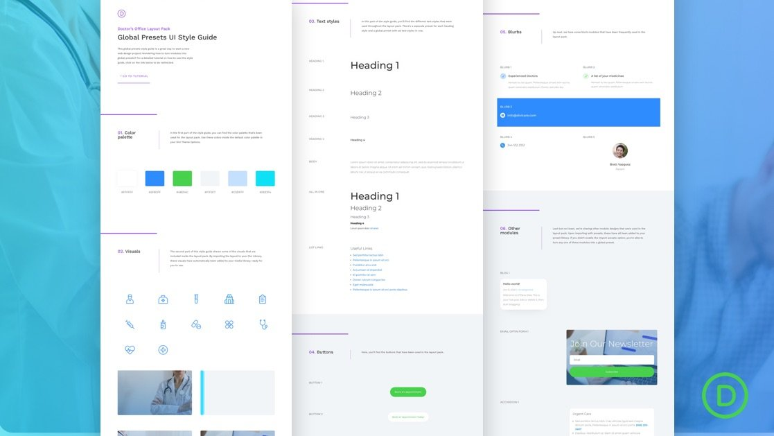 Download a FREE Global Presets Style Guide for Divi's Doctor's Office Layout Pack