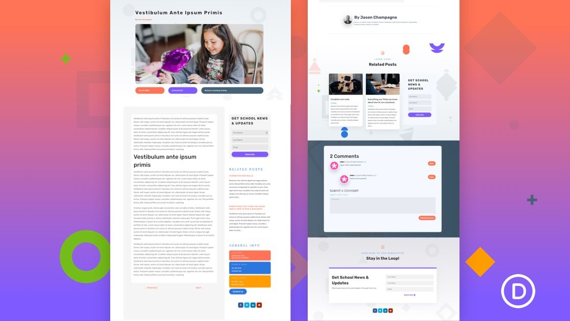 Get a FREE Blog Post Template for Divi's Elementary School Layout
