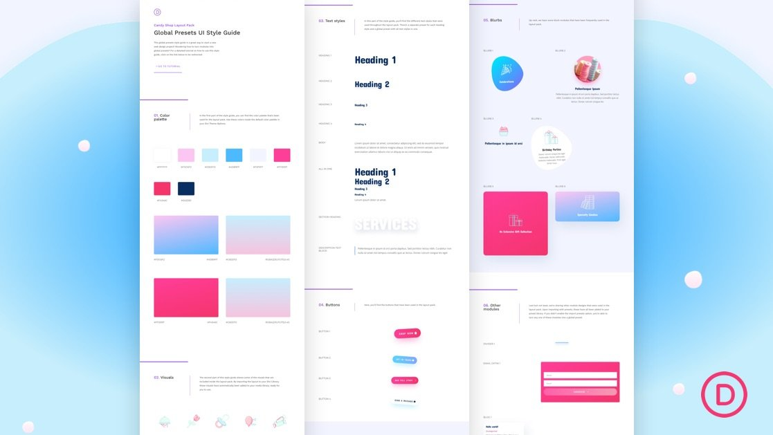 Download a FREE Global Presets Style Guide for Divi's Candy Shop Layout Pack