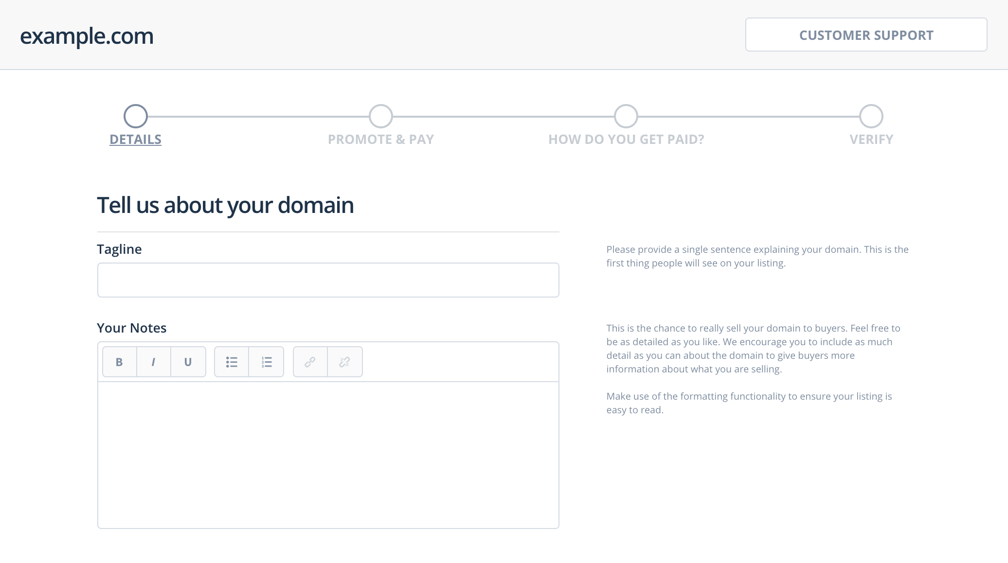 Adding a tagline and notes to a Flippa domain listing.