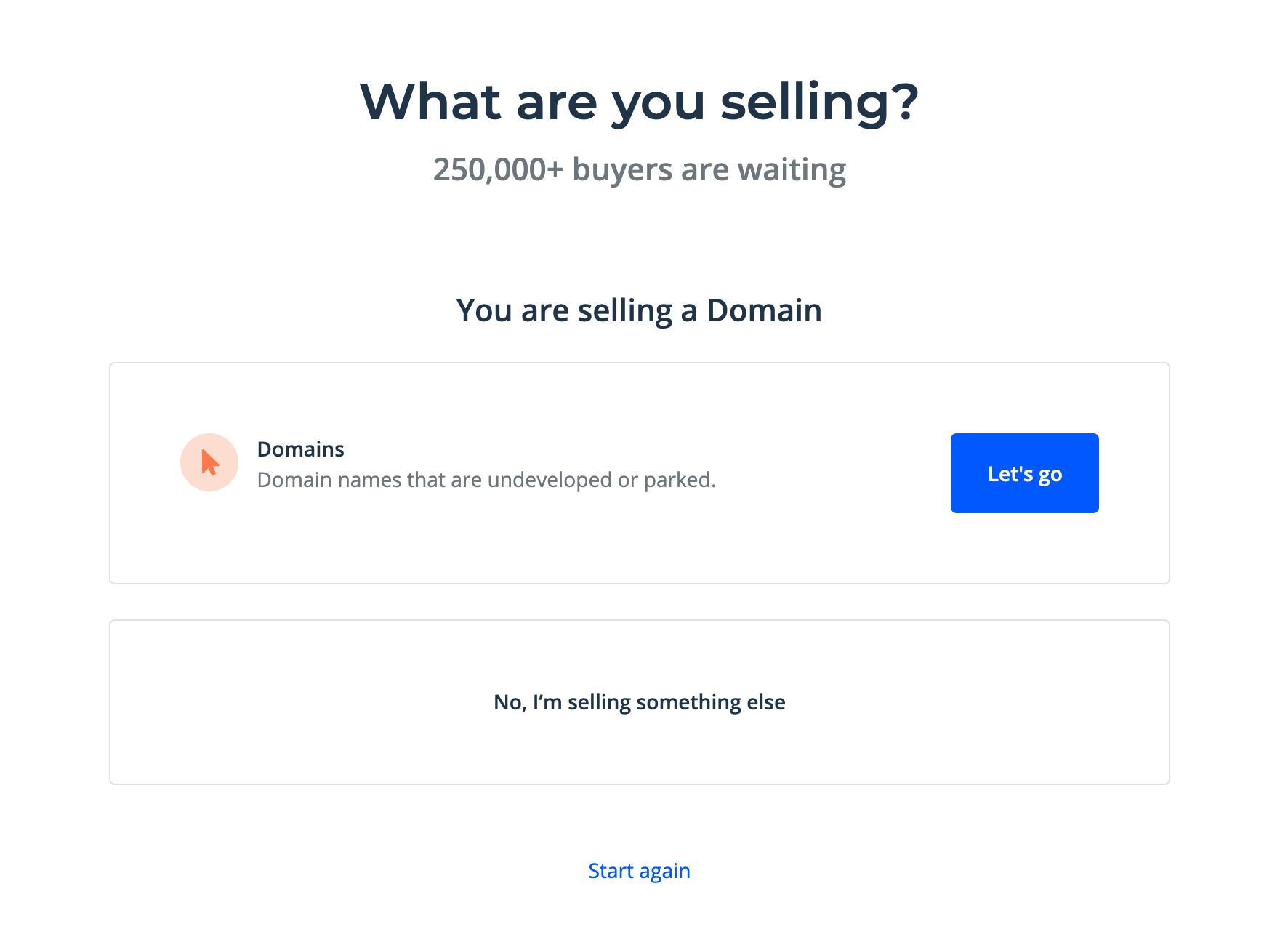 Confirming you want to sell a domain on Flippa.