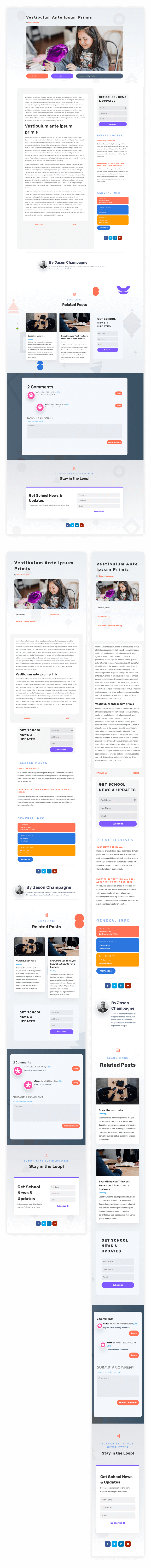 blog post template for Divi's Elementary School Layout Pack