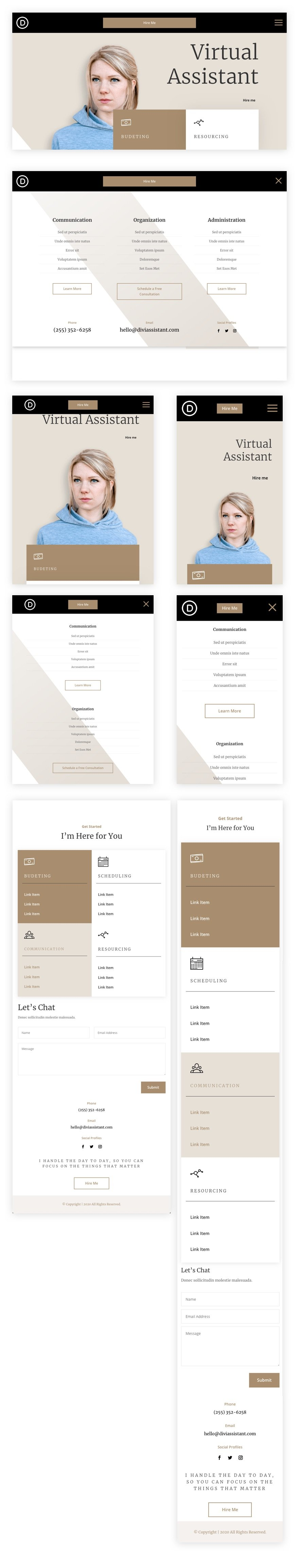divi virtual assistant header and footer template