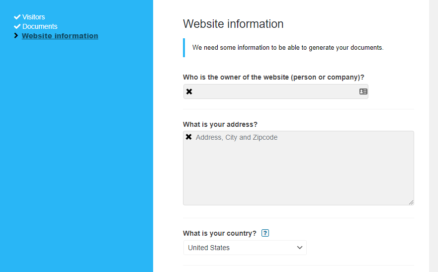 Filling out some basic information about your website.
