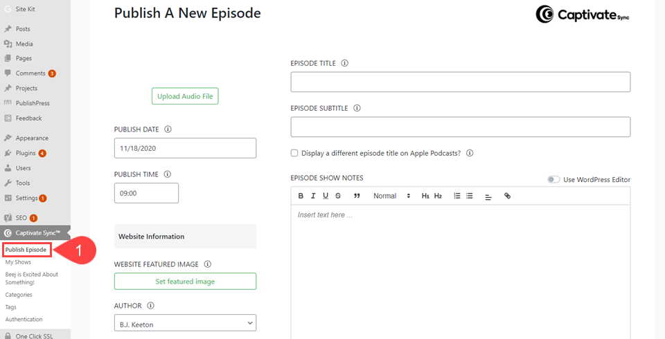 publish the podcast through the wp dashboard