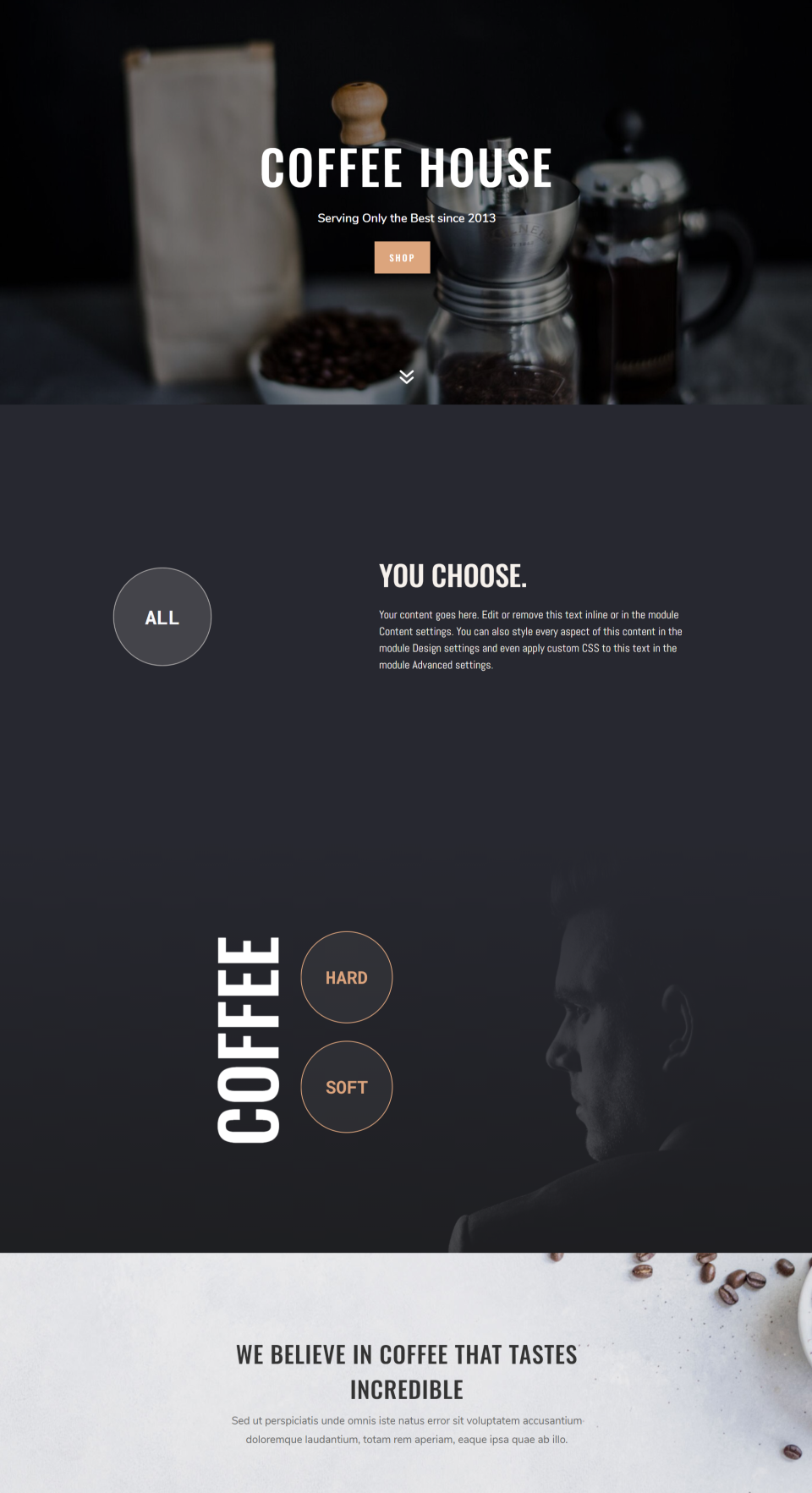 DiviMenus Coffee Layout
