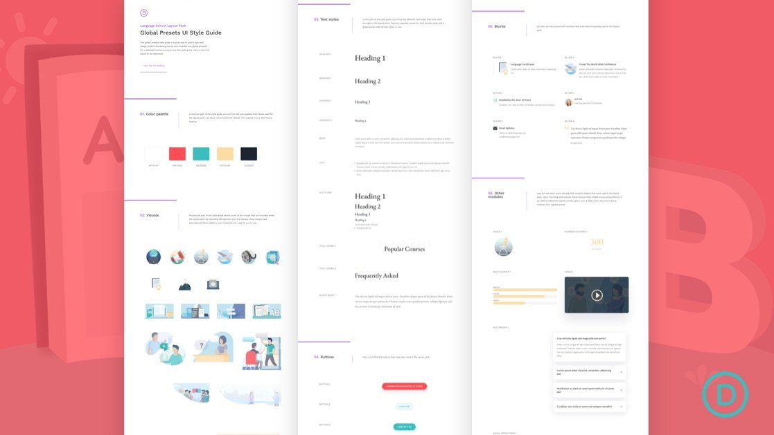 Download a FREE Global Presets Style Guide for Divi's Language School Layout Pack