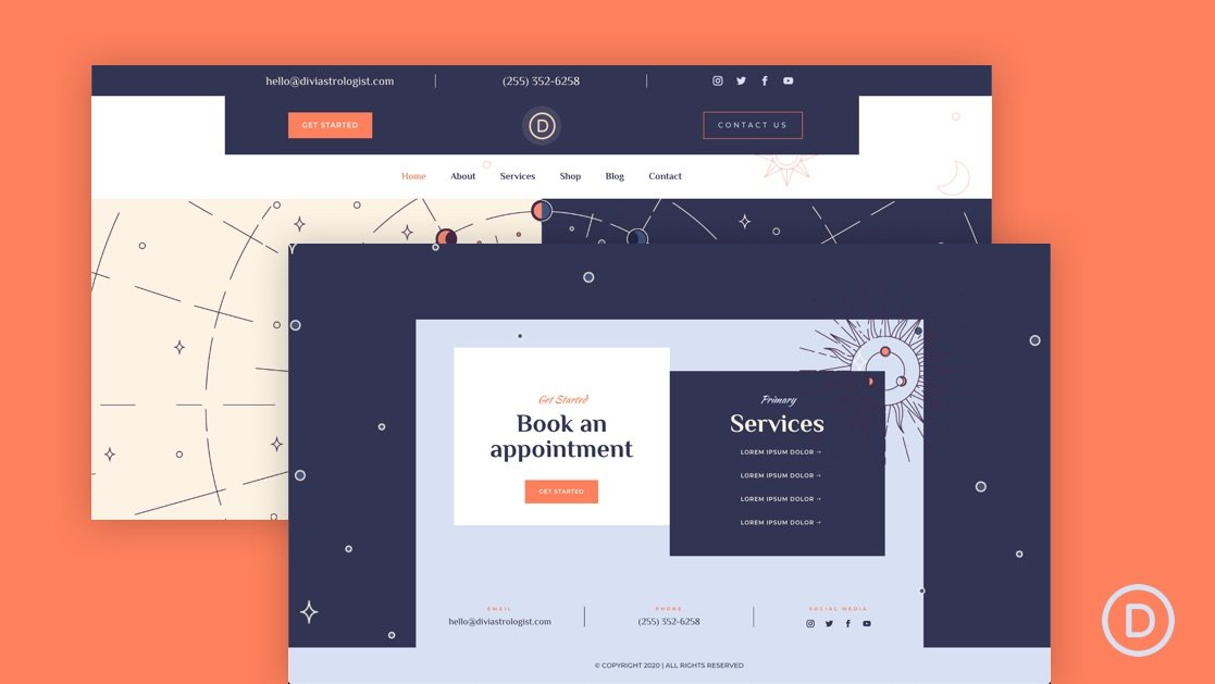Get a FREE Header and Footer Layout for Divi's Astrologer Layout Pack