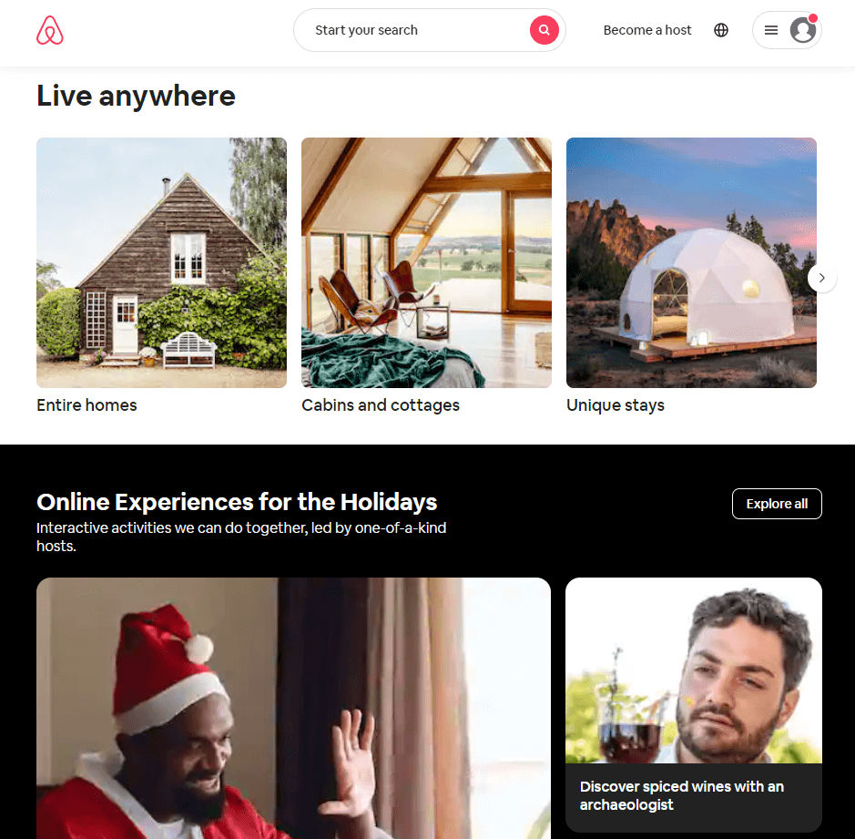 Airbnb's homepage