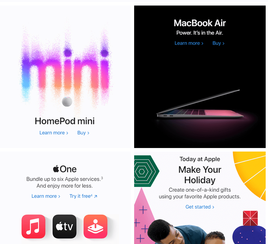 Apple's home page.