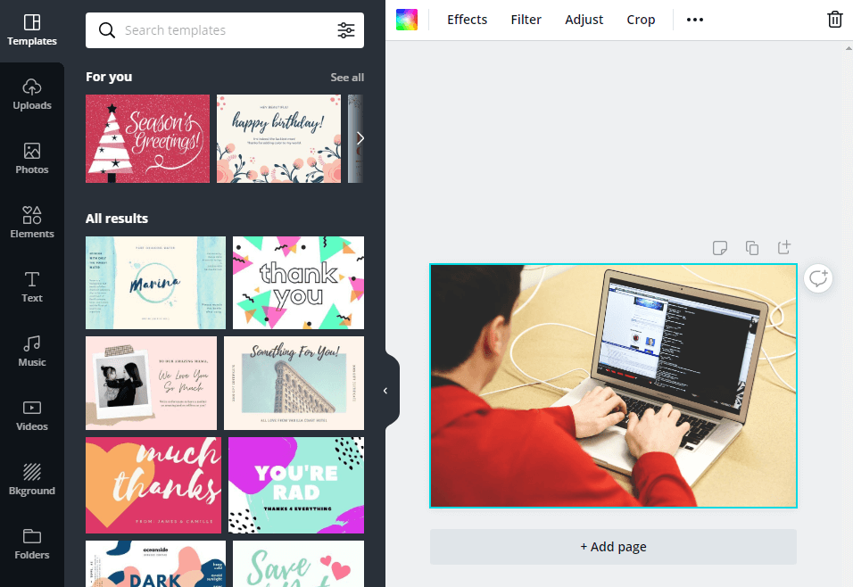 Canva's photo editing tools
