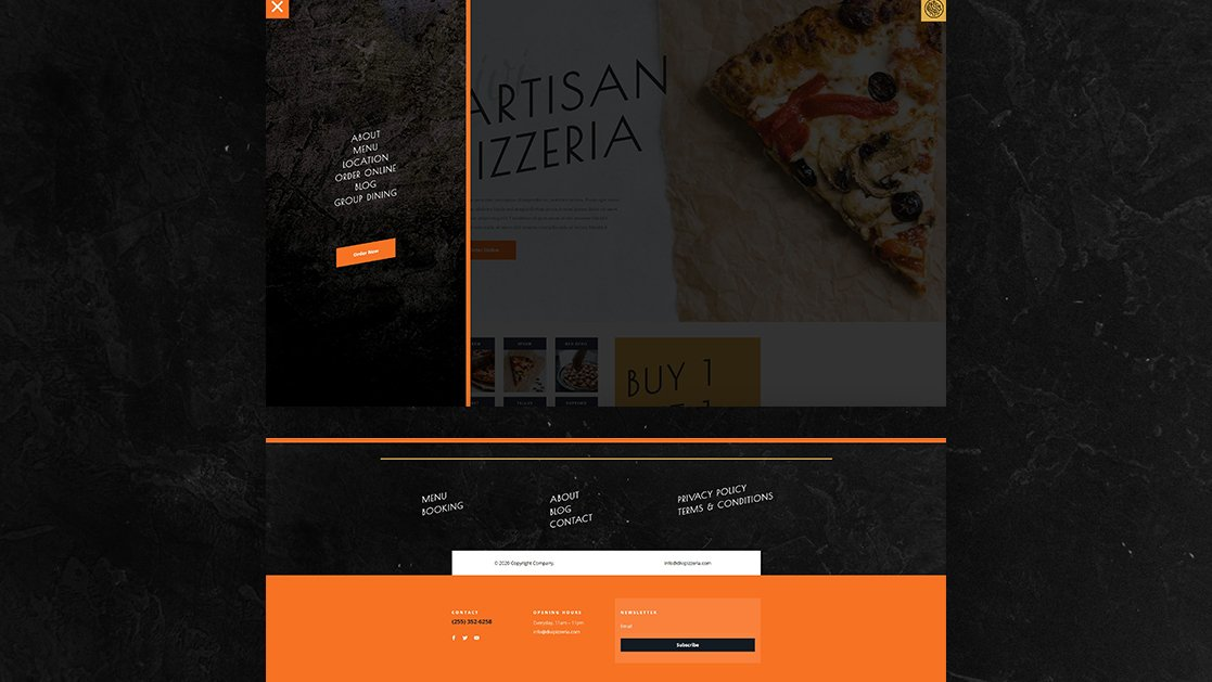 Download a FREE Header & Footer for Divi's Pizzeria Layout Pack