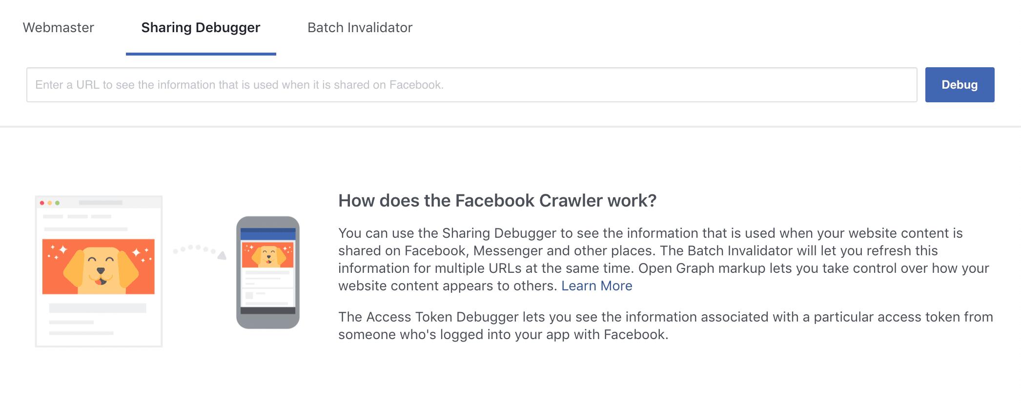 Facebook's Sharing Debugger tool.