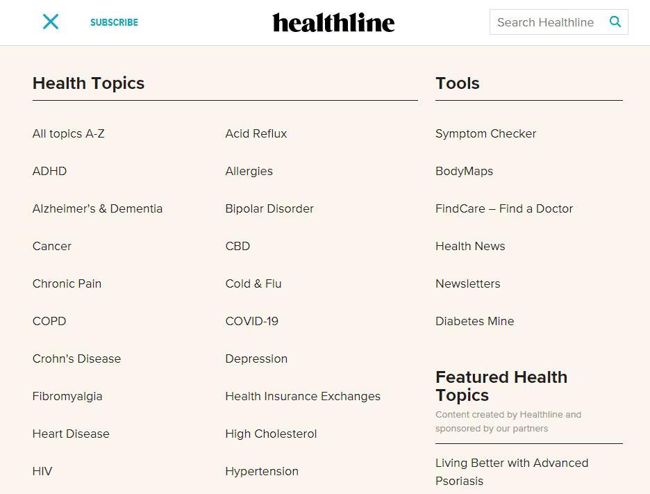 Healthline's topic categories