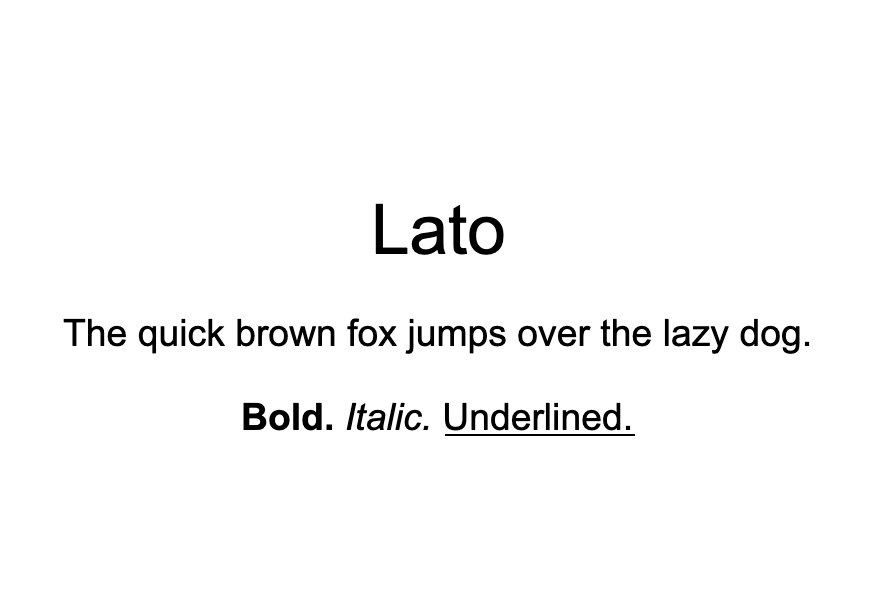 An example of the Lato font.