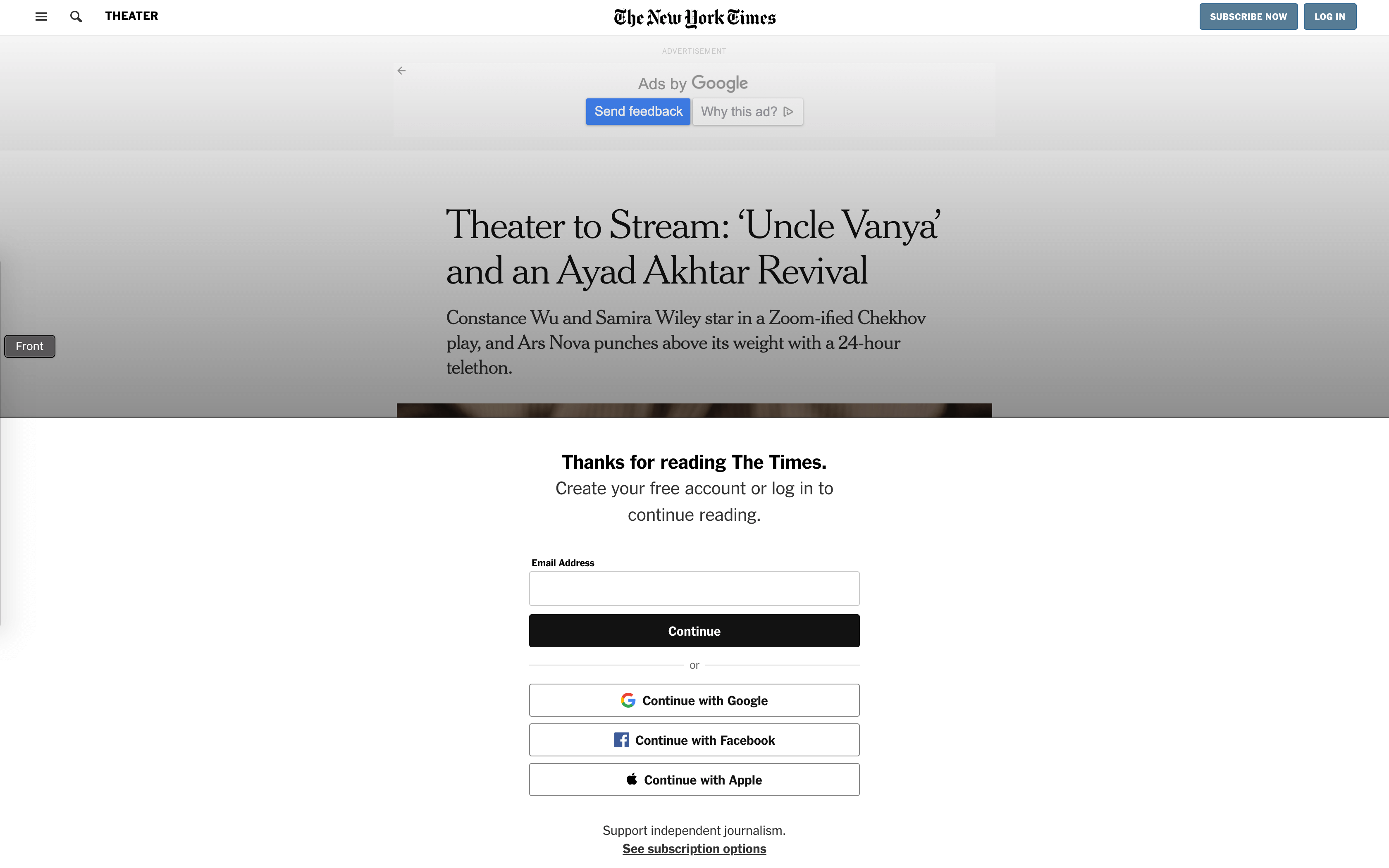 An example of a paywall on the New York Times websites.