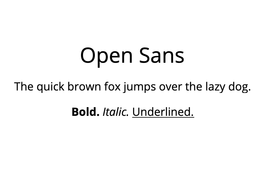 An example of the Open Sans font.