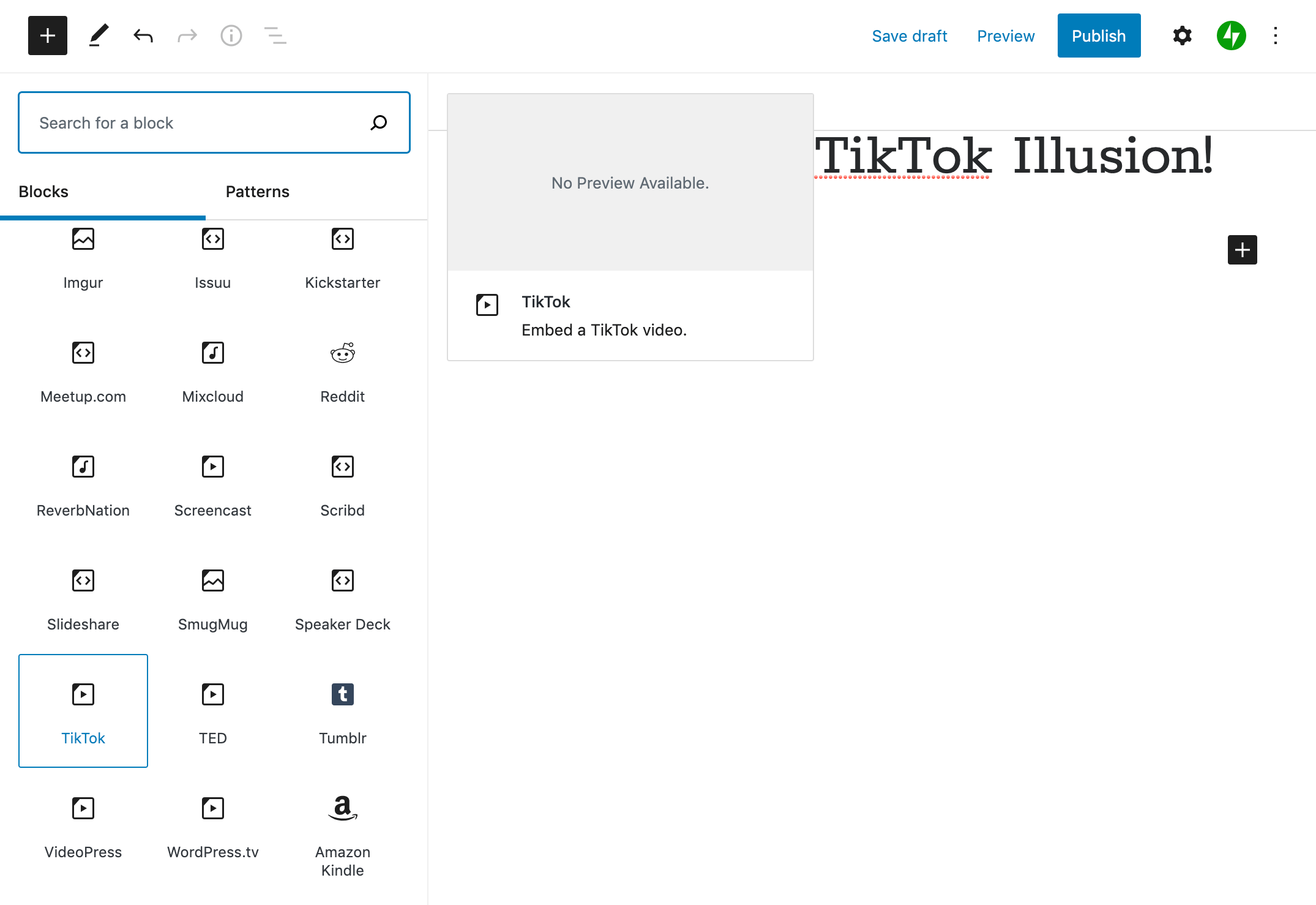 The TikTok WordPress block.