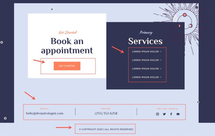divi astrologer header and footer template