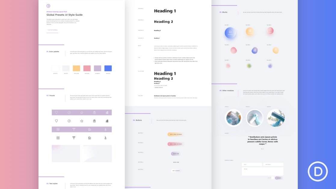Download a FREE Global Presets Style Guide for Divi's Window Cleaning Layout