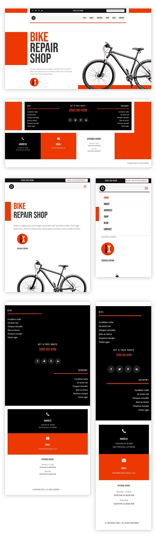 header footer template for Divi's Bike Repair Layout Pack