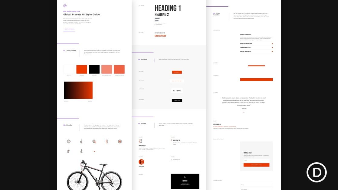 Download a FREE Global Presets Style Guide for Divi's Bike Repair Layout