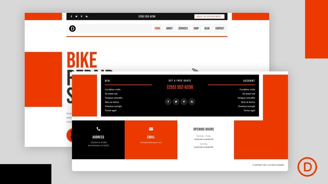 Get a FREE Header and Footer for Divi's Bike Repair Layout Pack