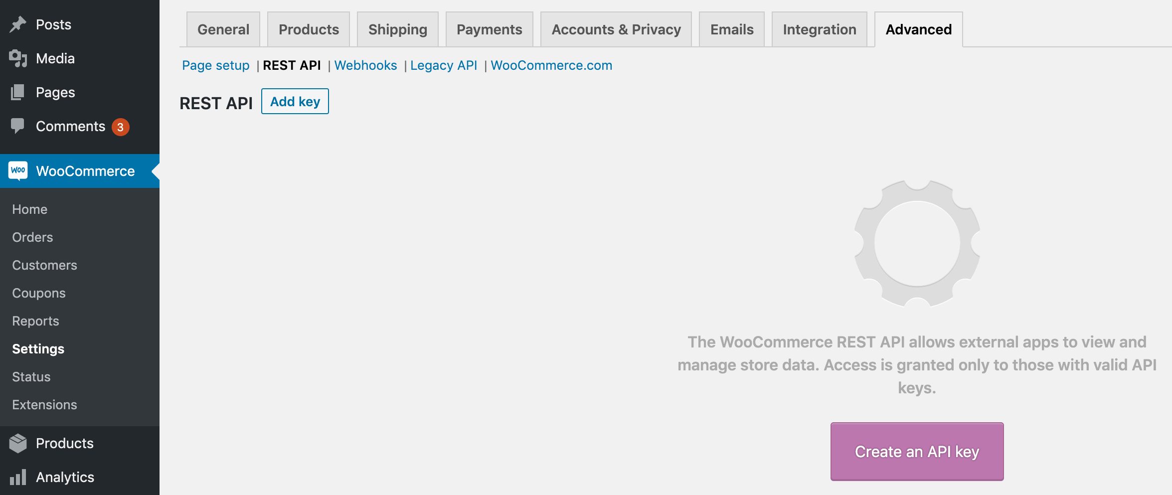 Clicking the Create an API key button.