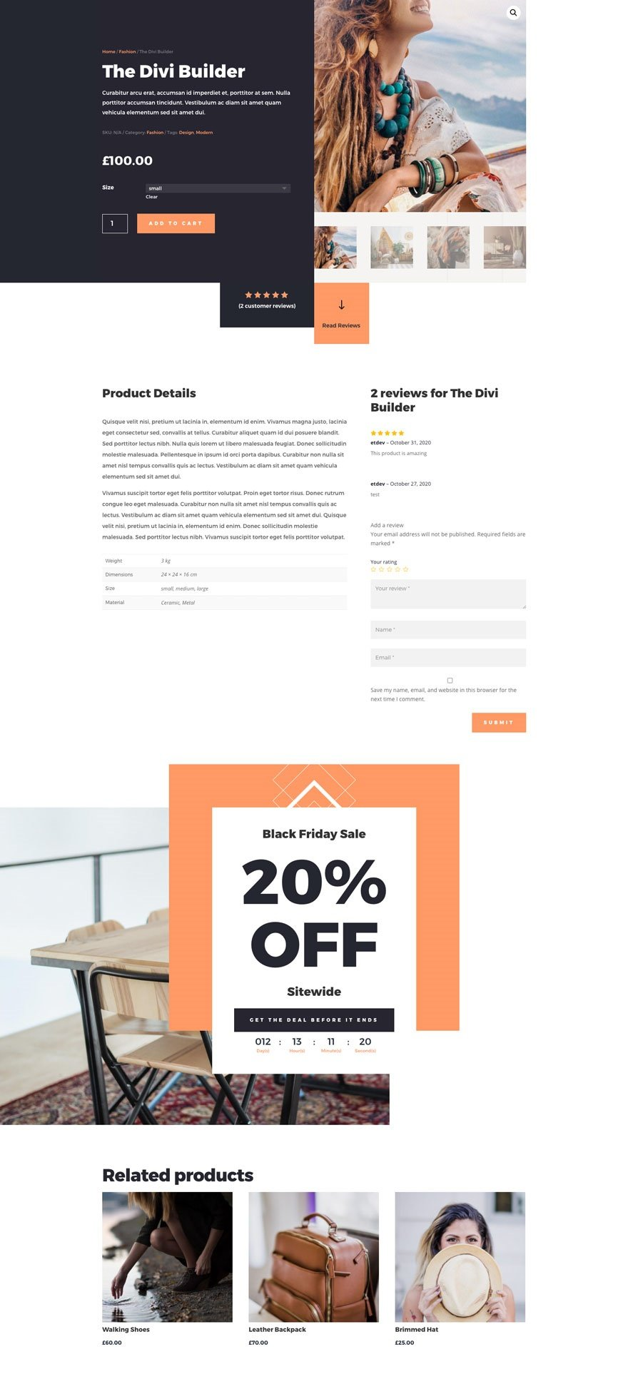 cyber monday product page layout pack