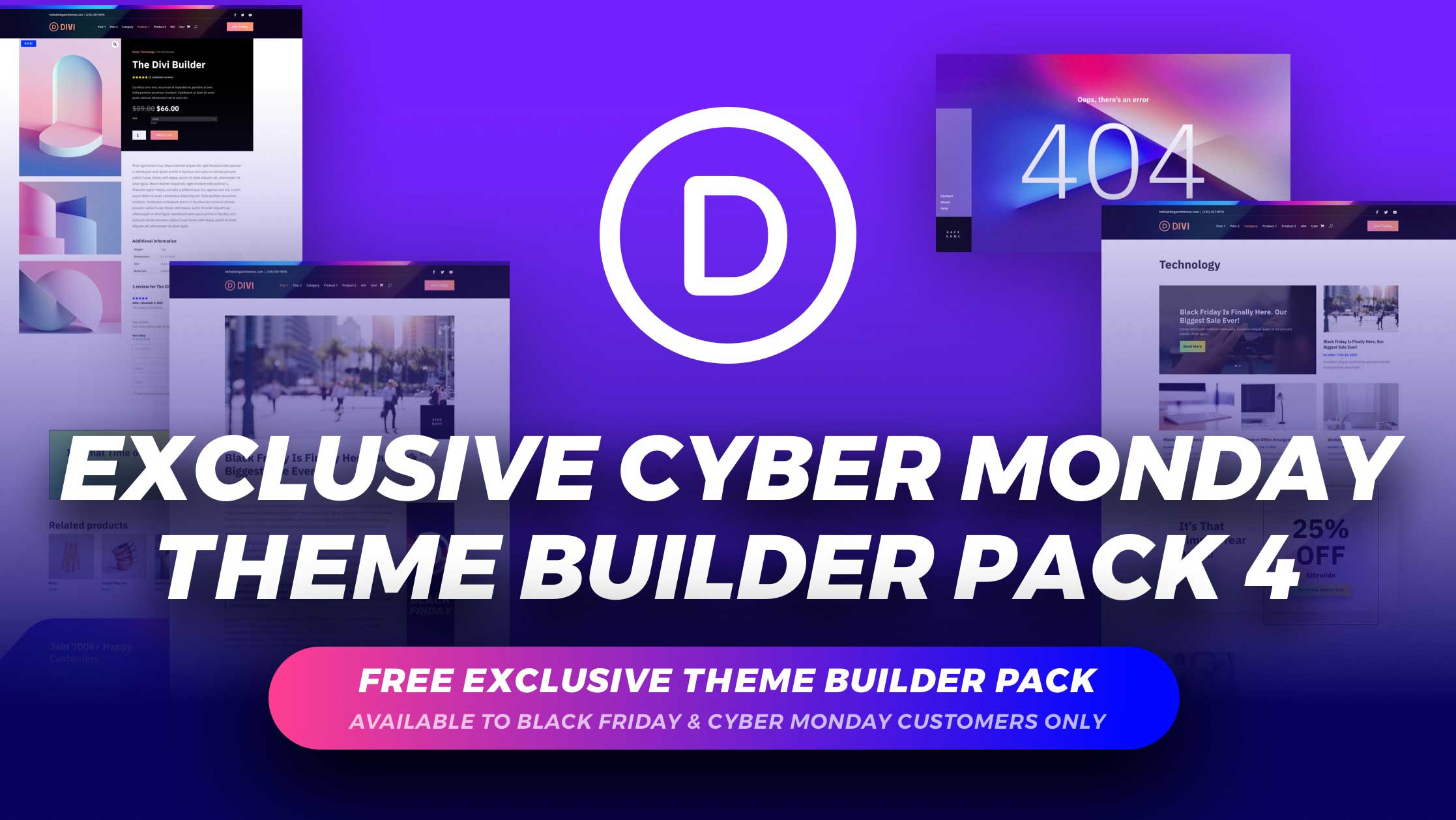 Get the Exclusive FREE Cyber Monday Theme Builder Pack #4
