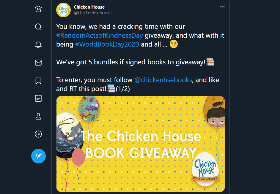 A tweet about the national book giveaway day.
