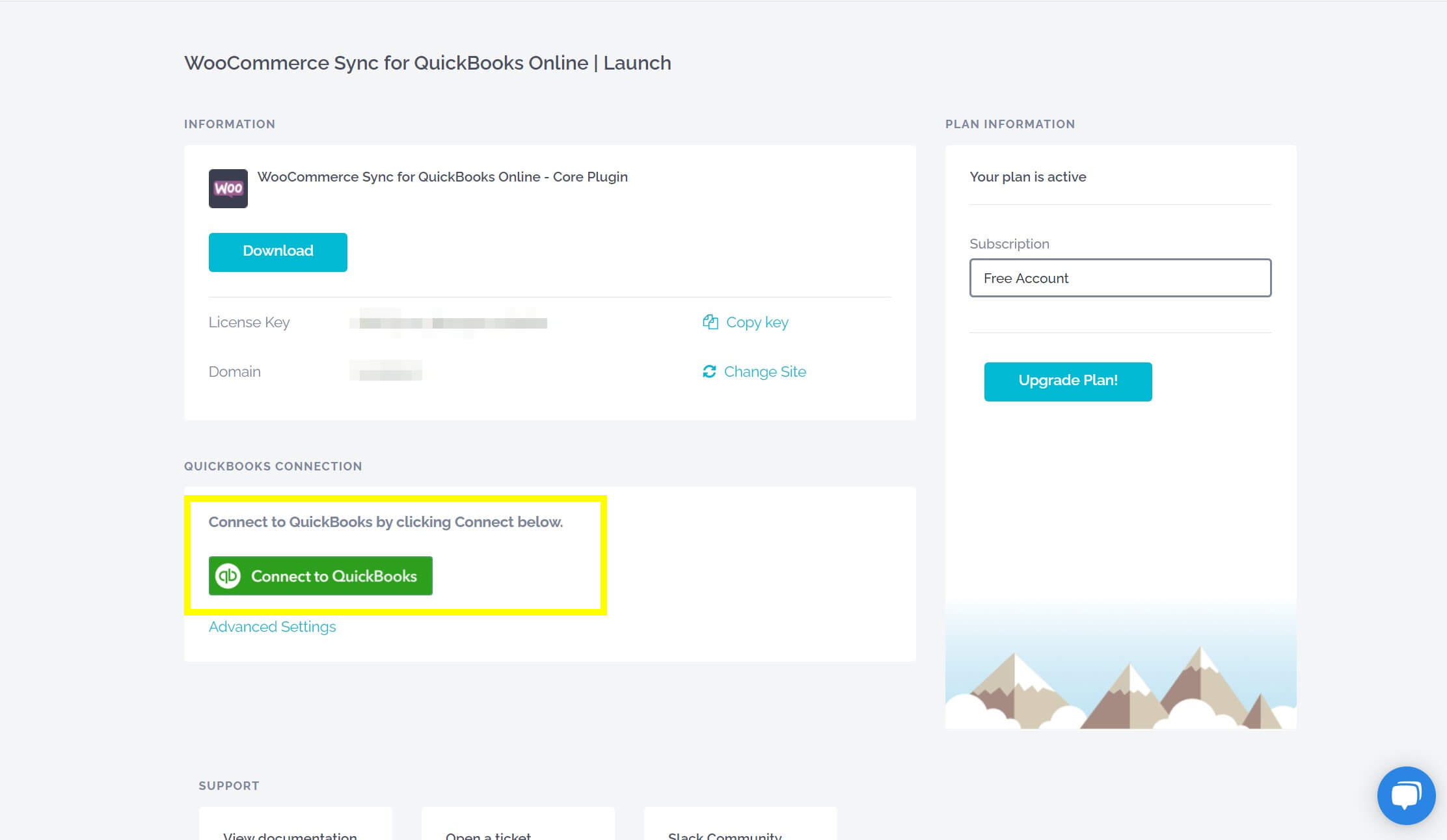 The button to connect the WooCommerce plugin to QuickBooks.