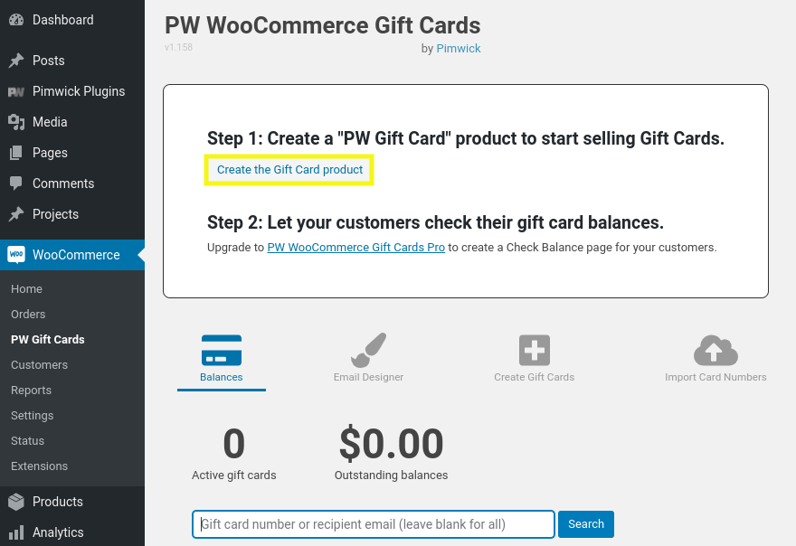 The 'create a gift card product' option in WooCommerce.
