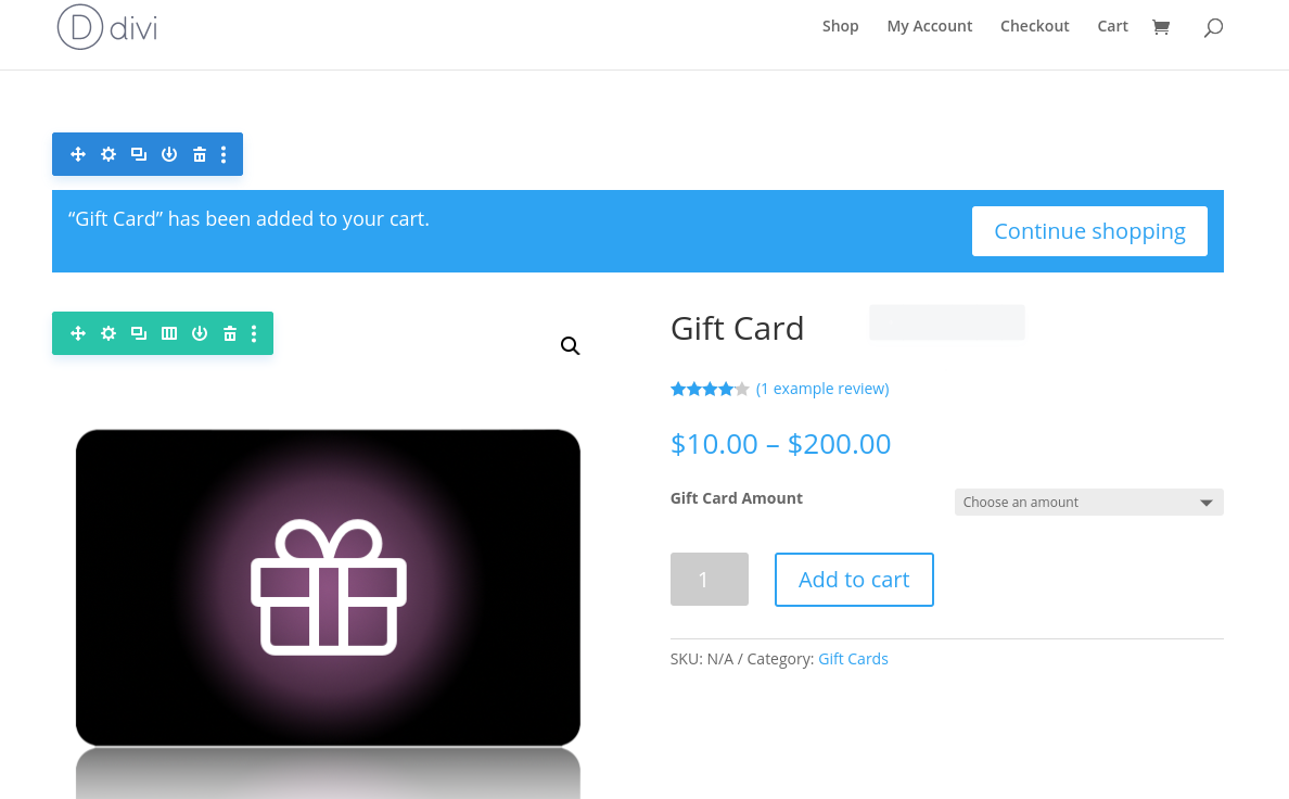 Editing the WooCommerce gift cards product page with the Divi Builder.