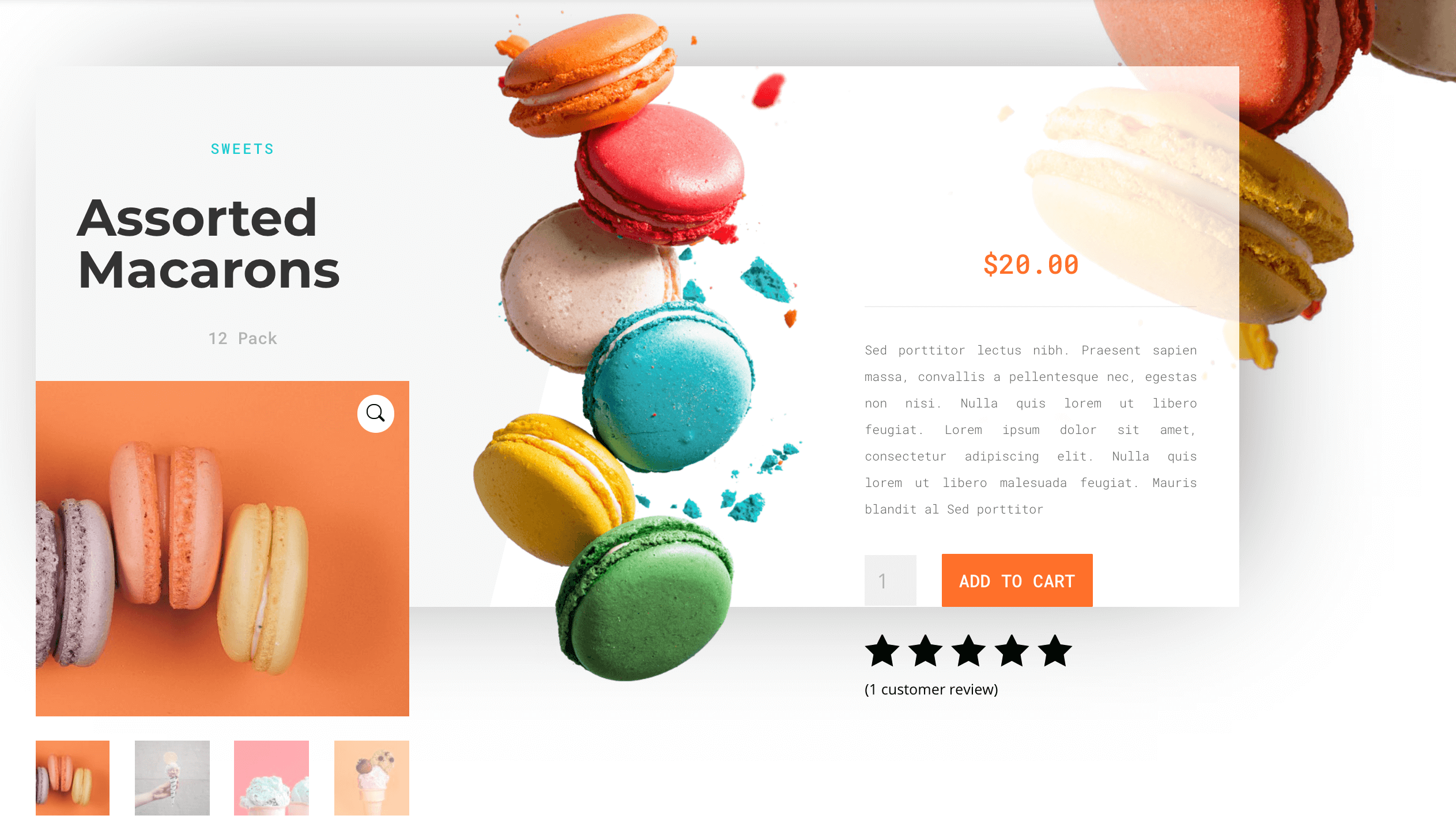 An e-commerce page, created using the Divi page builder plugin.