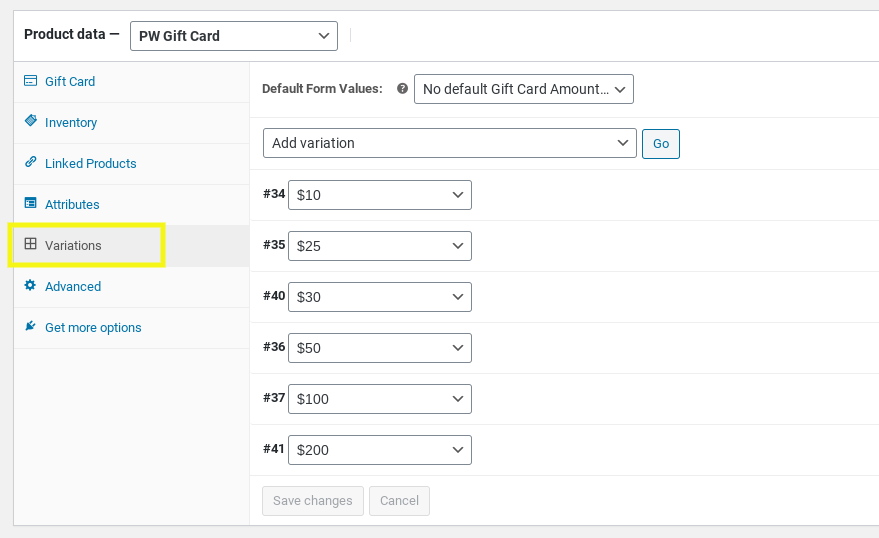 The gift card variations tab in WooCommerce.