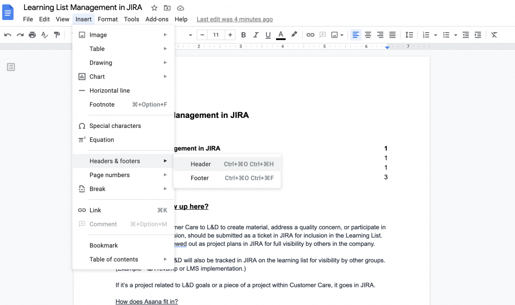 Header and Footer option in Google Doc