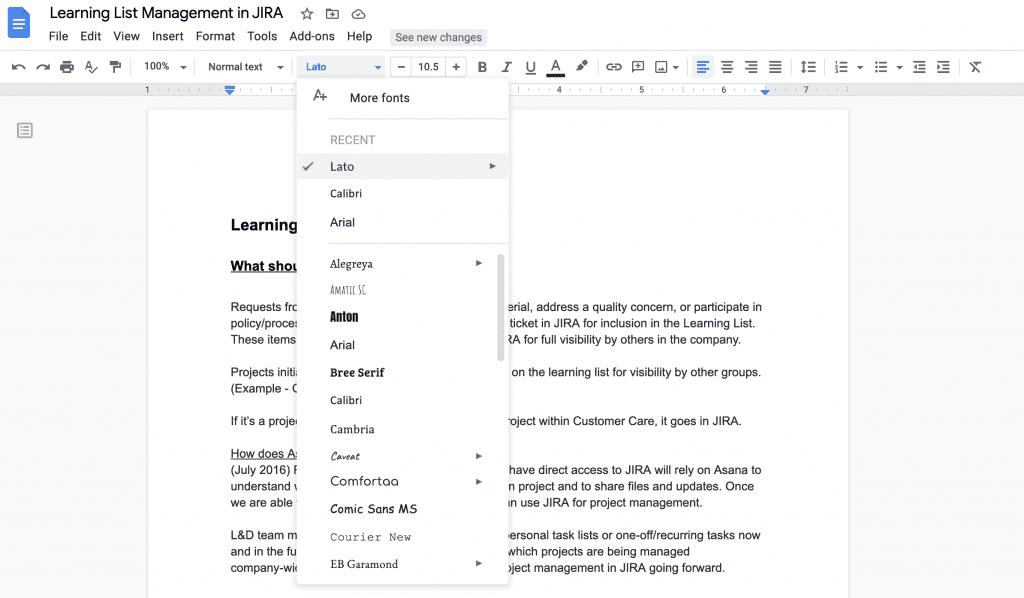 font list in google docs