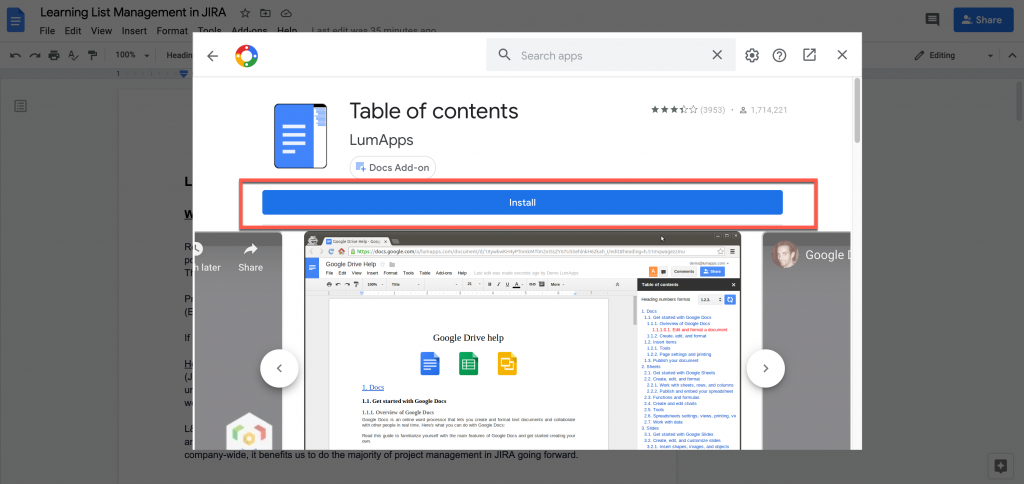 install add-on in Google Docs