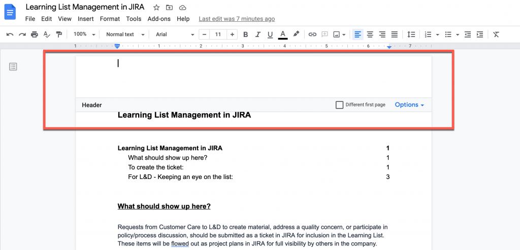 Header and Footer editing in Google Doc