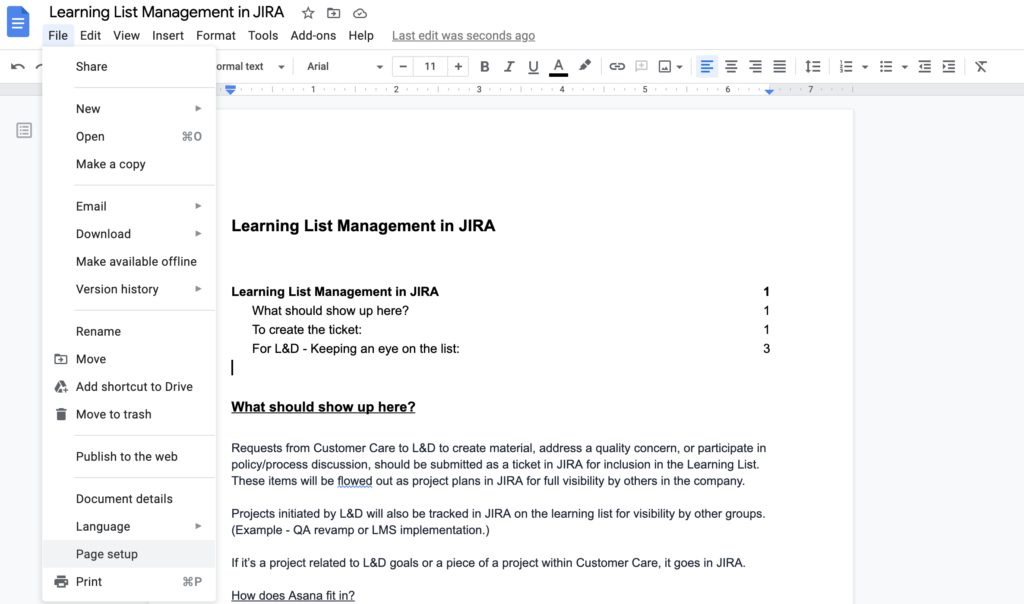 page set up in Google docs