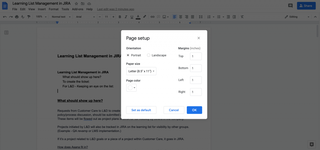 Page Setup menu in Google Docs