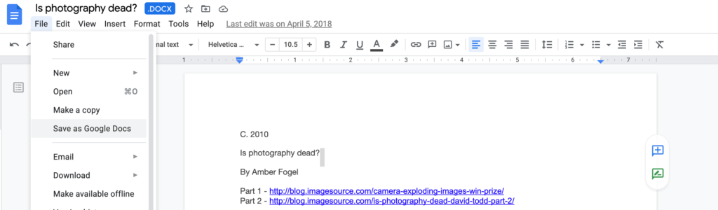 Save as Google Docs option