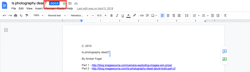 Word doc uploaded into Google Docs
