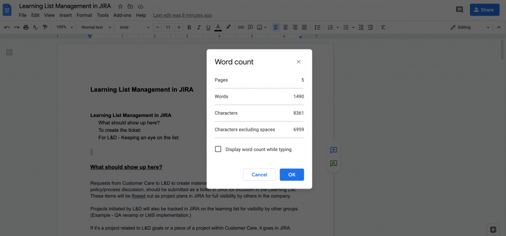 word count menu in Google Doc